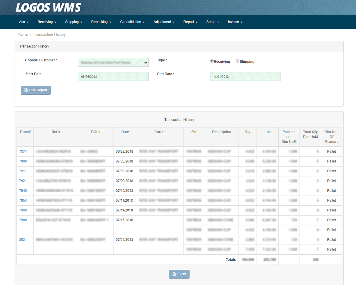 WMS Transaction History