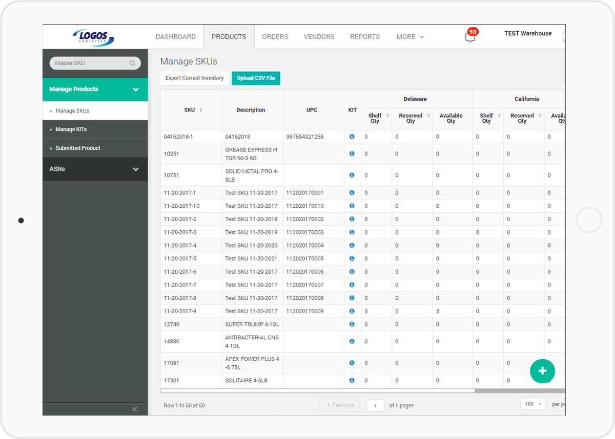 screenshot of managing SKUs