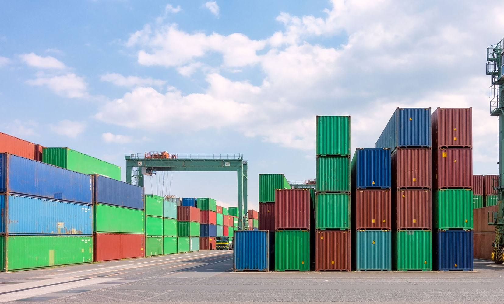 colorful containers with blue sky